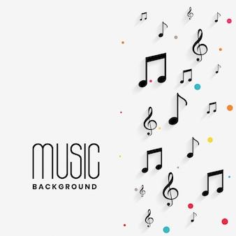 Lindo fundo de notas musicais com copyspace