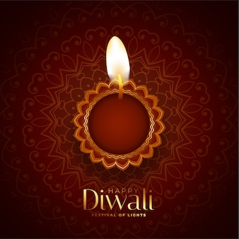 Lindo fundo feliz diwali com diya realista