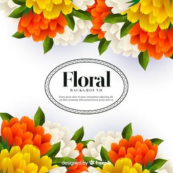 Lindo fundo floral com design realista