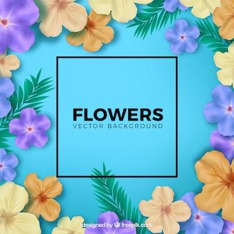 Lindo fundo floral com estilo realista