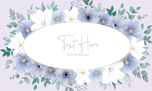 Lindo fundo floral com uma elegante flor azul marinho e branca