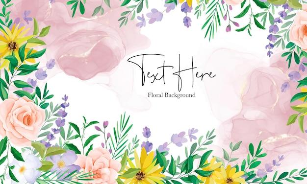Lindo fundo floral de flor silvestre com tinta alcoólica