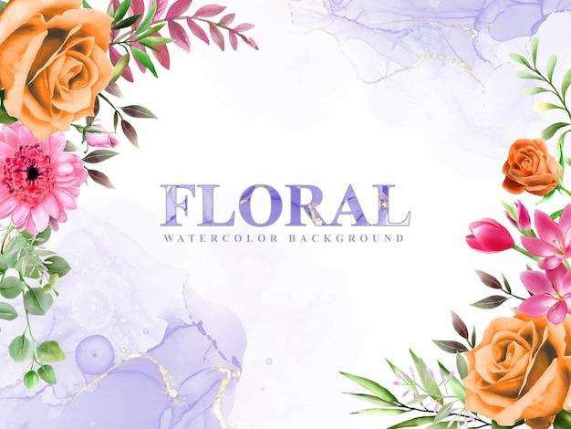 Lindo fundo floral e aquarela abstrato