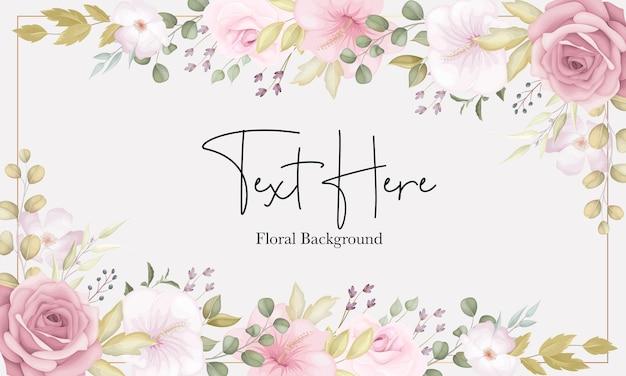 Lindo fundo floral suave com flores rosa empoeiradas Vetor Premium