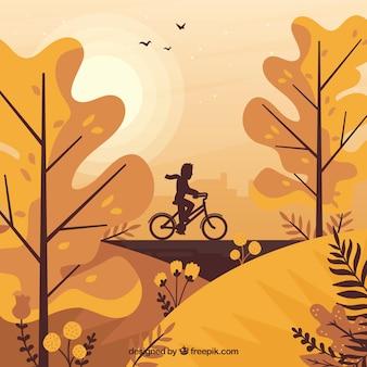 Lindo fundo outono com design plano