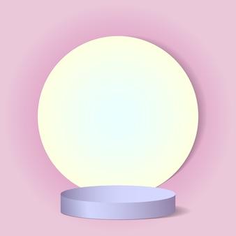 Lindo fundo rosa luxuoso com formas e um pedestal
