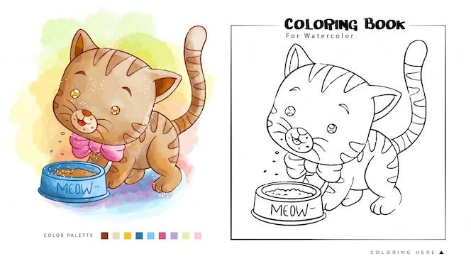 Lindo gatinho marrom come sua comida, ilustração dos desenhos animados para livro de colorir em aquarela