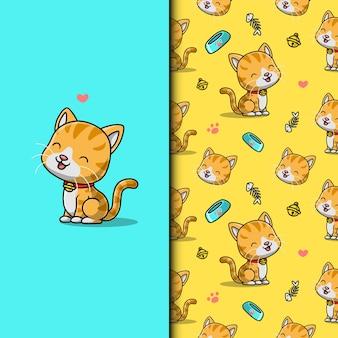 Lindo gato adorável. padrão uniforme.