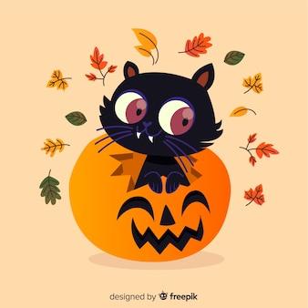 Lindo gato de halloween com design plano