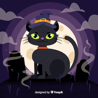 Lindo gato preto de halloween no design plano