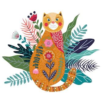 Lindo gato ruivo com flores e folhas
