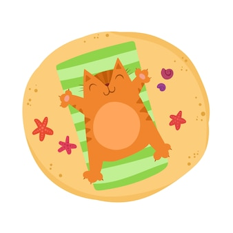 Lindo gato ruivo situa-se na praia. adorável gatinho está descansando. hora de relaxar. verão brilhante