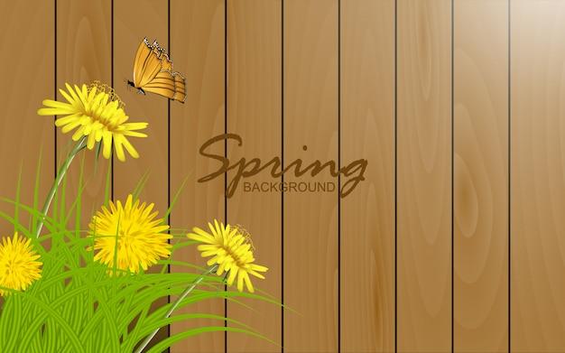 Lindo girassol com borboleta em fundo de textura de madeira