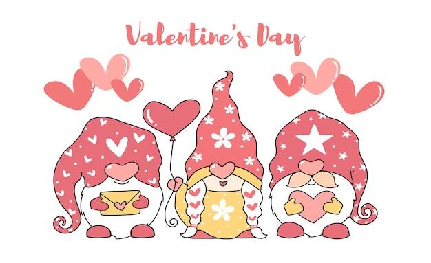 Lindo gnomo do amor dos namorados com balão de amor e carta de amor, três personagens de desenho animado