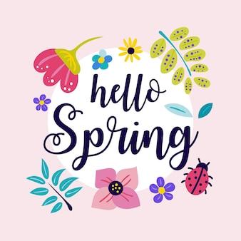 Lindo hello spring banner com flores desenhadas à mão
