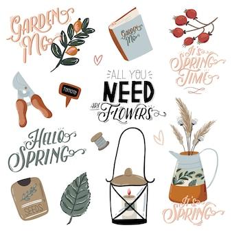 Lindo hello spring com elementos de jardim desenhados à mão, ferramentas e letras românticas