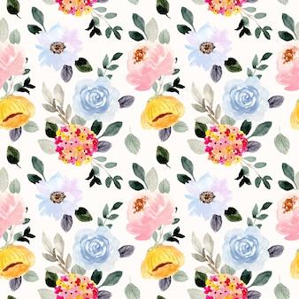 Lindo jardim de flores aquarela sem costura padrão