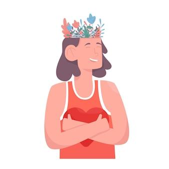 Lindo jardim de flores dentro da cabeça feminina