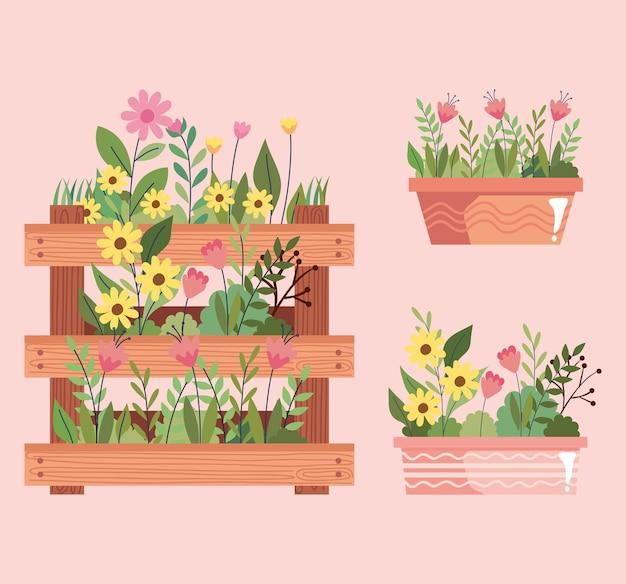 Lindo jardim de flores em vasos e desenho de ilustração vetorial de cesta de madeira