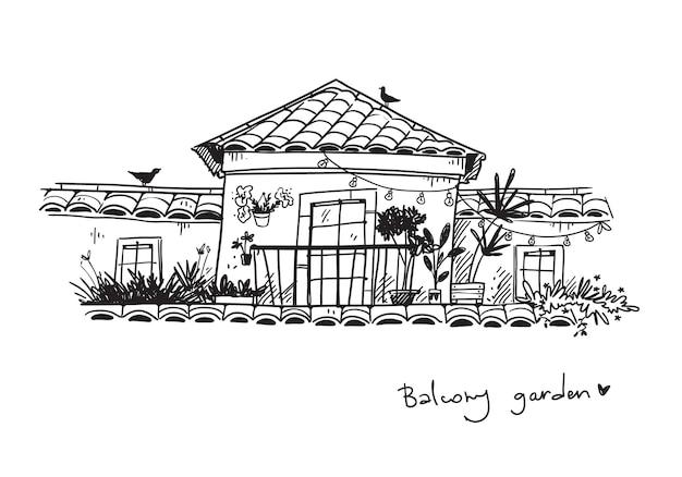 Lindo jardim na varanda com várias plantas caseiras ilustração vetorial de linha