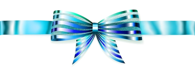 Lindo laço azul listrado brilhante com fita horizontal com sombra