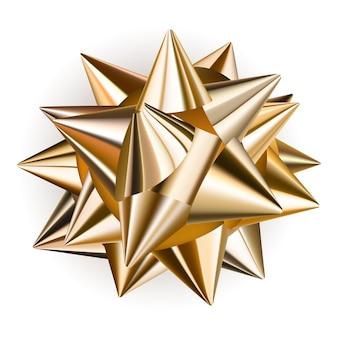 Lindo laço grande feito de fita dourada brilhante com sombra