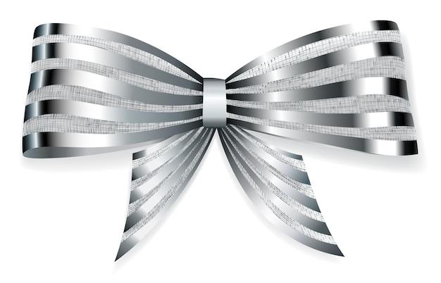 Lindo laço grande feito de fita listrada de prata brilhante com sombra