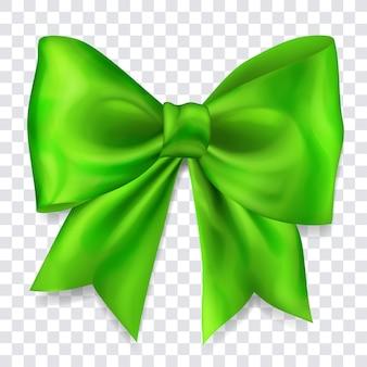 Lindo laço grande feito de fita verde com sombra no fundo transparente