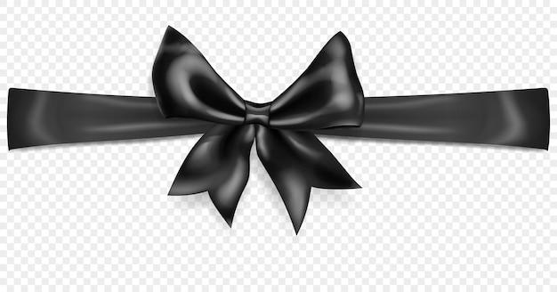 Lindo laço preto com fita horizontal com sombra, isolado em fundo transparente. transparência apenas em formato vetorial