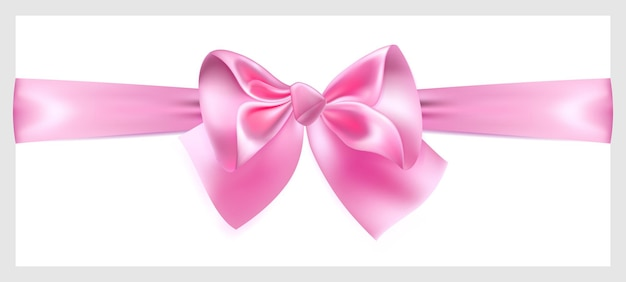 Lindo laço rosa com fita de seda, localizado horizontalmente