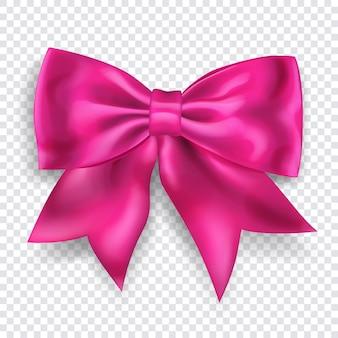 Lindo laço rosa grande com uma fita com sombra em fundo transparente