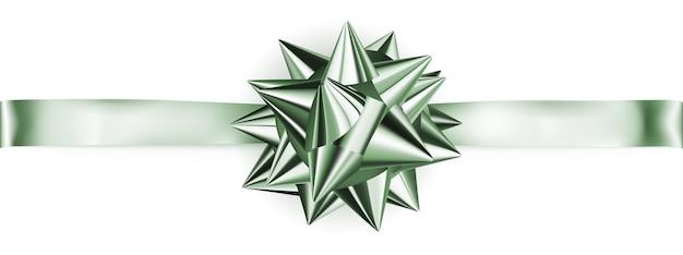 Lindo laço verde brilhante com fita horizontal com sombra