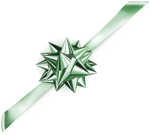 Lindo laço verde brilhante com fita na diagonal com sombra
