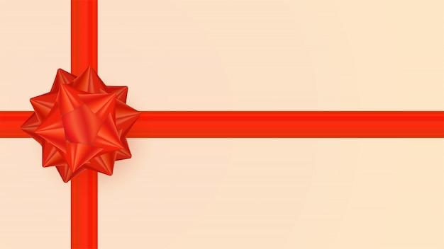 Lindo laço vermelho realista com fitas no fundo