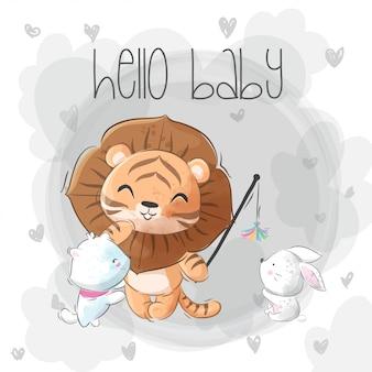 Lindo leão com cartão de gatinho