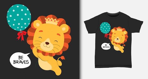 Lindo leão flutuando com balão. com design de camiseta.