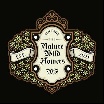 Lindo logotipo de flor vintage e modelo de etiqueta