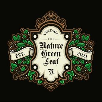 Lindo logotipo de folha vintage e modelo de etiqueta