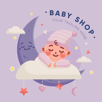 Lindo logotipo detalhado de bebê