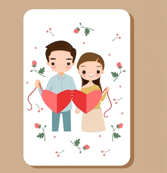 Lindo menino e menina mostrando amor com flor para dia dos namorados
