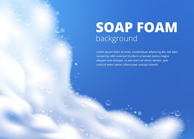Lindo modelo azul com espuma de sabão realista com bolhas