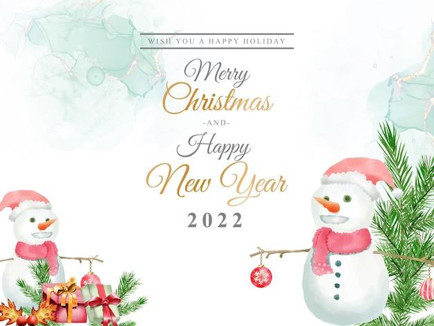 Lindo modelo de cartão com aquarela floral e enfeites de natal