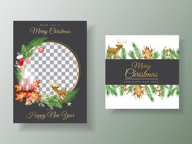 Lindo modelo de cartão com flores e enfeites de natal
