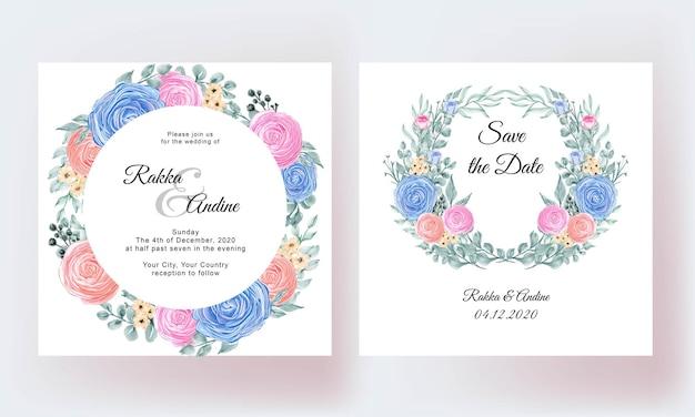 Lindo modelo de cartão de casamento com flores e folhas