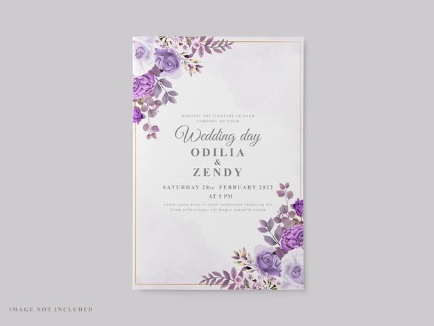 Lindo modelo de cartão de casamento com tema floral roxo