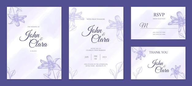 Lindo modelo de cartão de casamento desenhado à mão