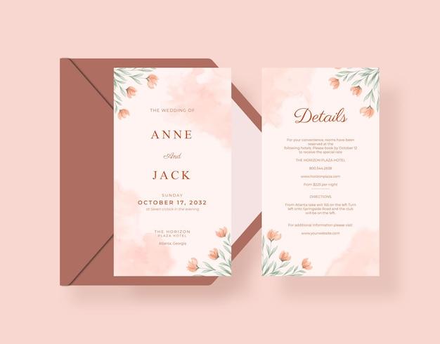 Lindo modelo de cartão de casamento e cartão de detalhes