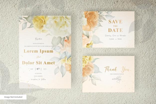 Lindo modelo de cartão de casamento em aquarela com decoração floral e de folhas