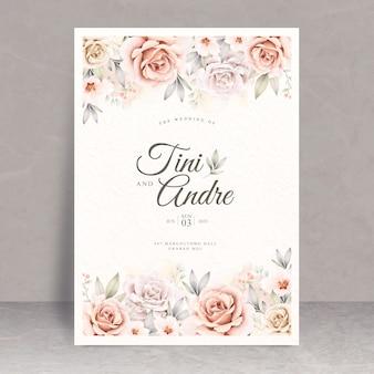 Lindo modelo de cartão de casamento em aquarela floral