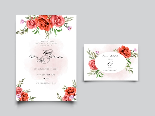 Lindo modelo de cartão de convite de casamento com desenho de rosa vermelha desenhado à mão